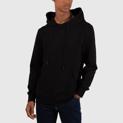 Black classic hoodie with kangoroo pocket and embroidery heart on chest.