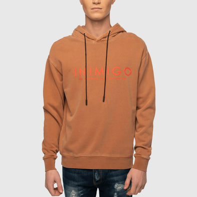 Brown hoodie with inimigo front print.