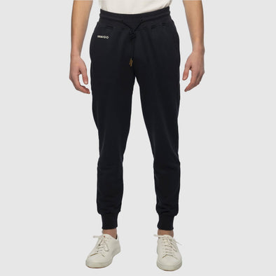 Black slim fit sweatpants with inimigo logo front left pocket with elastic waist with string and one back pocket.