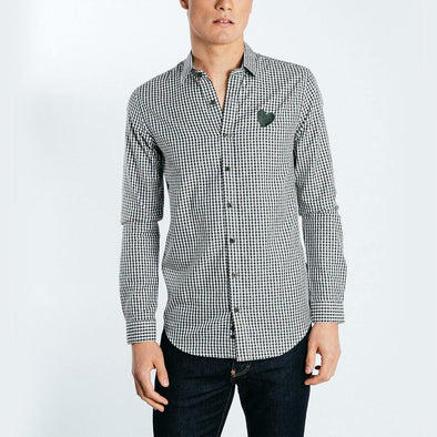 Regular fit checked shirt in blue and white and embroidery on chest.