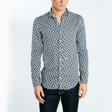 Multi color all over geometric pattern shirt.