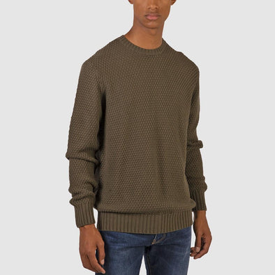 100% wool round neck olive green knit.