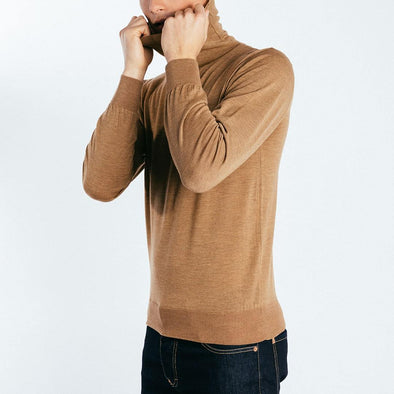 100% wool turtle neck beige knit.