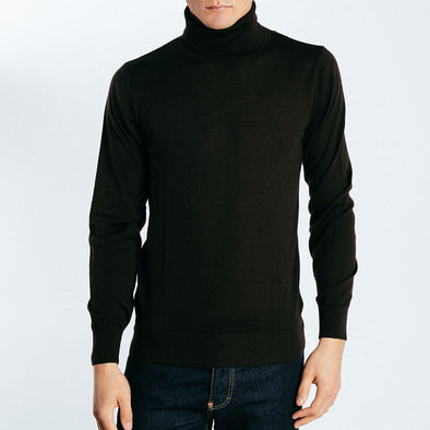 100% wool turtle neck black knit.