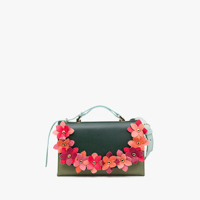 Rectangular retro-style handbag in light and dark green leather panels with leather flower appliques in pink, coral, red, burgundy leather, and mint handle and detachable strap