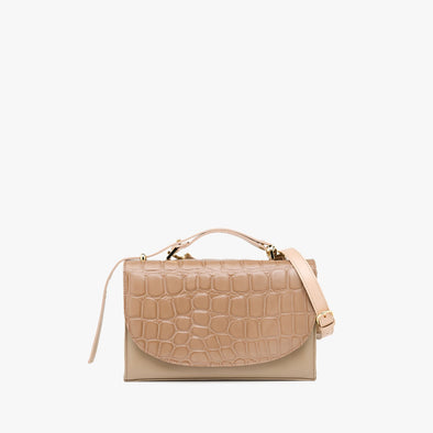 Rectangular retro-style handbag in nude with crocodile-embossed flap, handle and detachable strap in a lighter shade