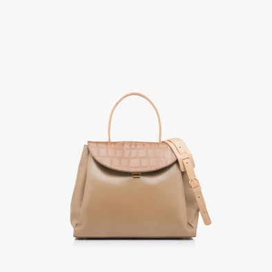 Classic large handbag in nude leather with crocodile-embossed flap, thin handle and detachable strap in a lighter shade