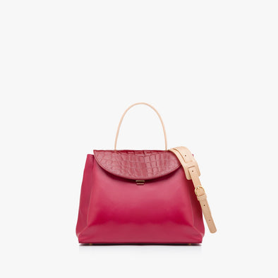 Classic large handbag in red leather with crocodile-embossed flap, thin handle and detachable strap in a lighter shade