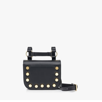 Geometrical small bag in black leather with golden rounded tacks with H-shaped adjustable strap