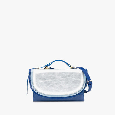 Rectangular retro-style handbag in electric blue leather, front flap in silver with blue frills, and blue handle and detachable strap