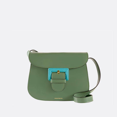 Sage green saddle bag with three compartments and the perfect size.