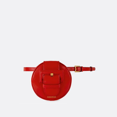 Circular belt bag in red leather.
