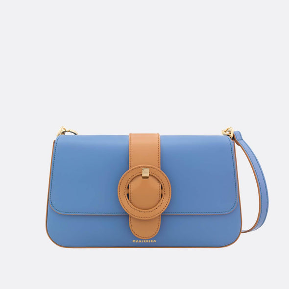 Blue with sand detail shoulder bag.