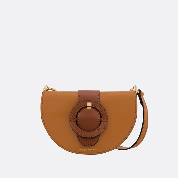 Beige semi-circle shoulder bag with brown detail.