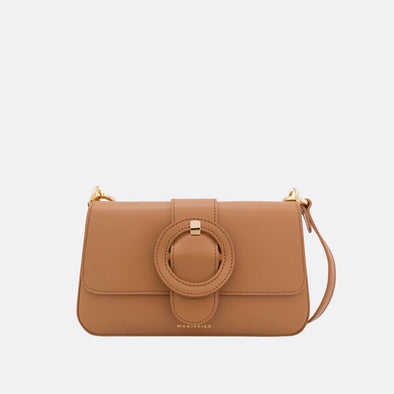 Beige mini shoulder bag.