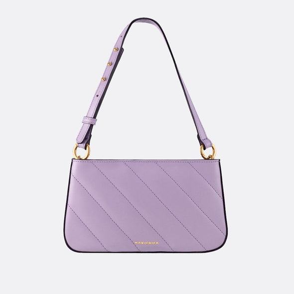 Handmade mini shoulder bag in purple with adjustable strap.