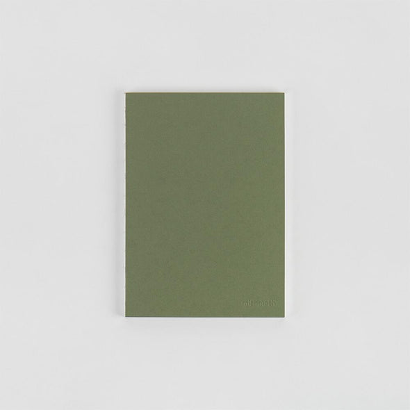 Regular size olive green plain notebook.