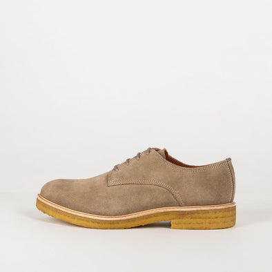 Earl crepe waxy suede derbies with a high impact leather covered padded sock.