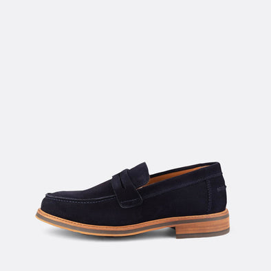 Navy suede loafers.