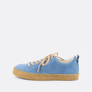 Blue casual derbies with a front lace-up closure and an almond-shaped toe.