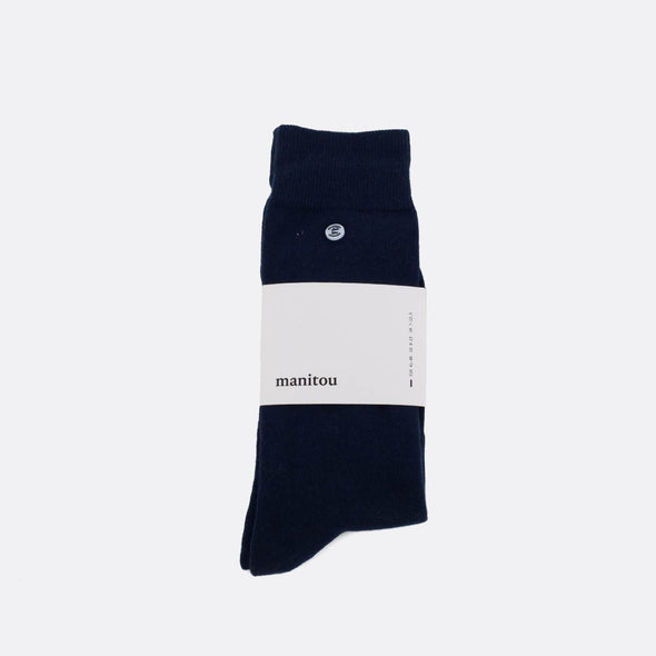 Navy blue soft socks.