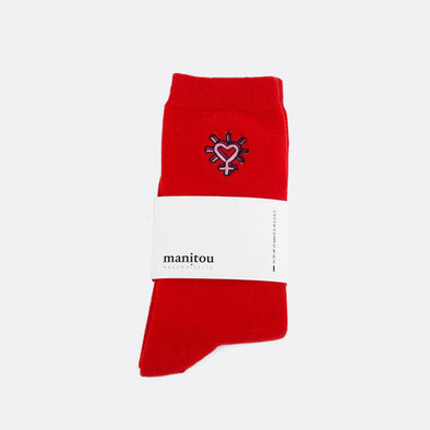 Red soft socks with heart embroidery.