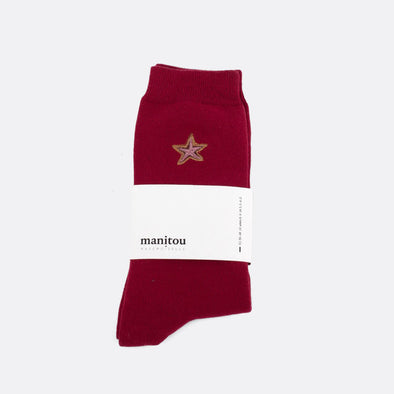 Bordeaux soft socks with star embroidery.