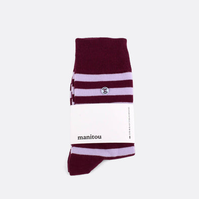 Striped socks in bordeaux and purple.