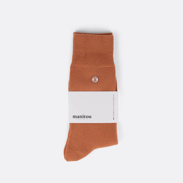 Brown socks made of the perfect mix of super soft organic cotton nylon and a touch of spandex.
