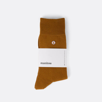 Beige socks made of the perfect mix of super soft organic cotton nylon and a touch of spandex.