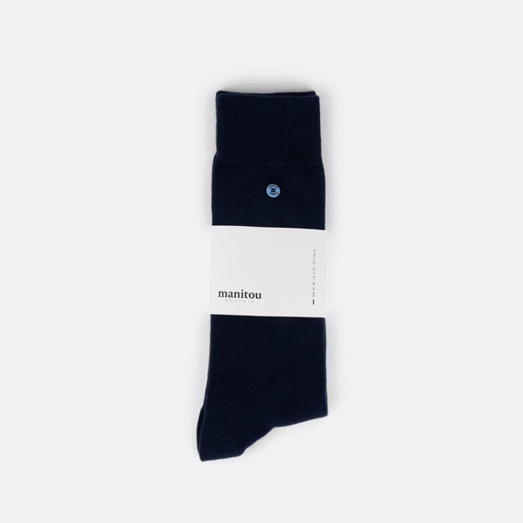 Navy socks made of the perfect mix of super soft organic cotton nylon and a touch of spandex.