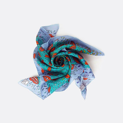Blue multicolor scarf with various shapes.