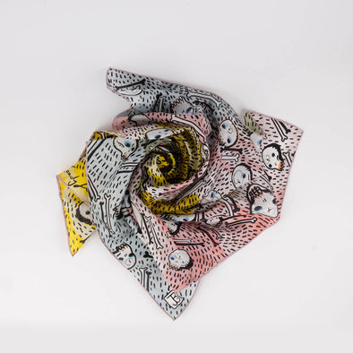 Unique limited edition silk scarf illustrated by artist Berriblue.
