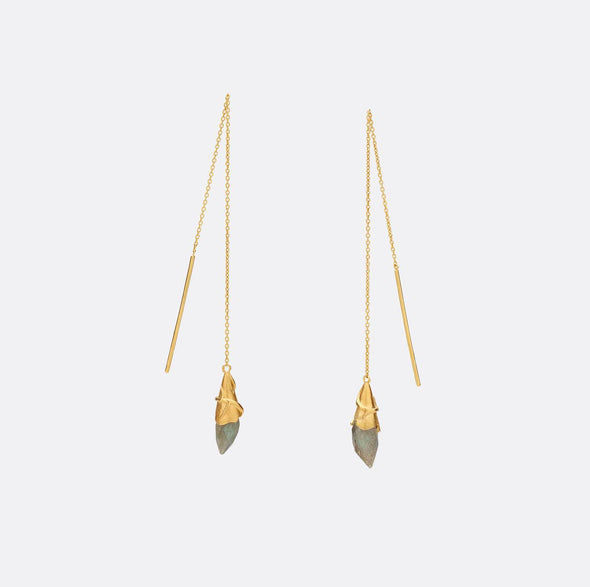24k gold plated 925 sterling silver long leaf earrings.