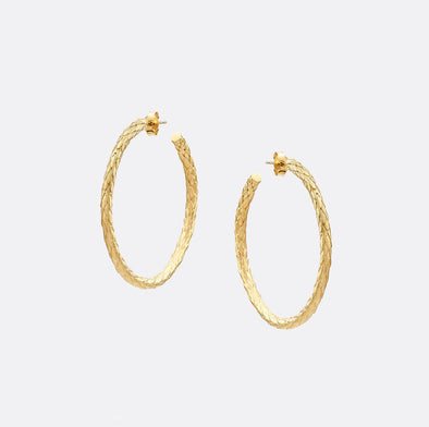 24k gold plated 925 sterling silver petal hoop earrings.