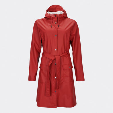 Classic yet practical women's scarlet rain jacket inspired by the timeless Trench Coat.