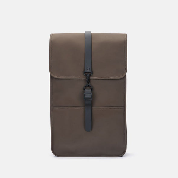 Boxy minimalist backpack in brown synthetic with a single metallic black hook clasp
