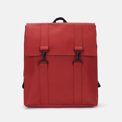 Boxy style minimalist backpack in red synthetic with two black metallic hook clasps