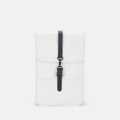 Boxy minimalist backpack in off-white synthetic with a single metallic black hook clasp