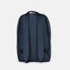 Minimalist daypack in blue synthetic with front pocket and matching zippers
