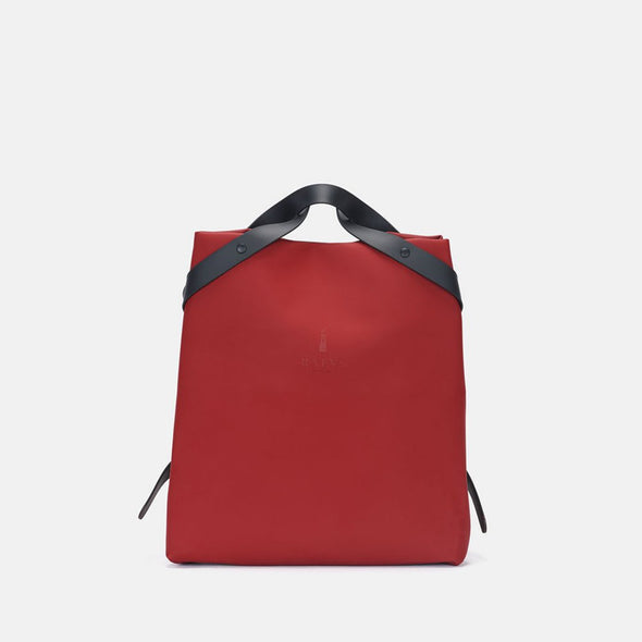 Minimalist bag with a simplified boxy design in scarlet red synthetic with zipper contrasting black straps