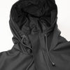 Black unisex transitional rain jacket kept in a minimalistic design with a mid-cut length.