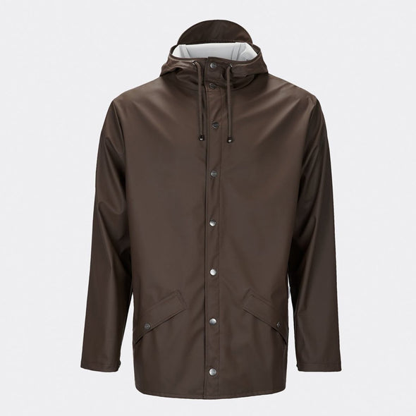 Brown functional and unisex rain jacket with a casual fit, featuring an adjustable hood with a practical cap function.