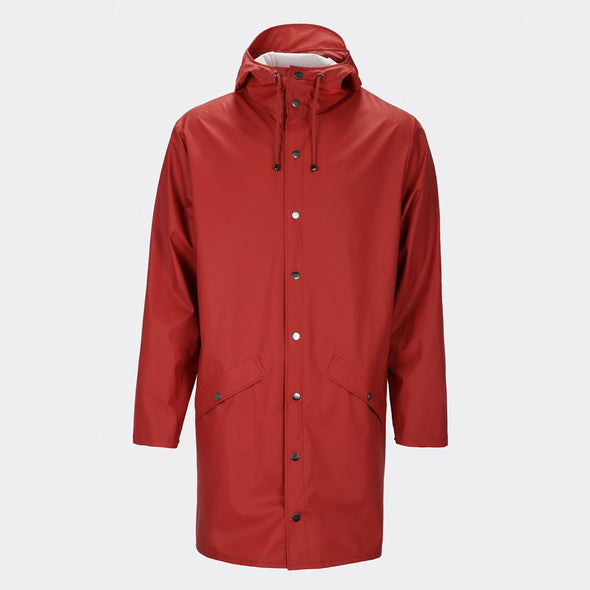 Unisex scarlet casual raincoat with double welded slanting pocket flaps, adjustable cuffs and a fishtail.