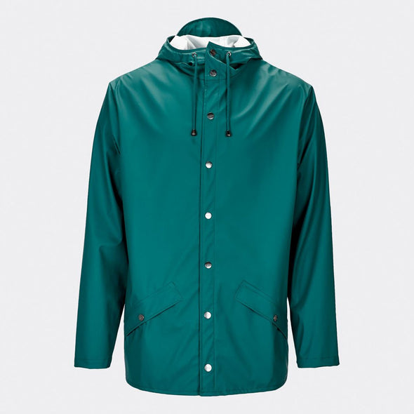 Dark teal functional and unisex rain jacket with a casual fit, featuring an adjustable hood with a practical cap function.