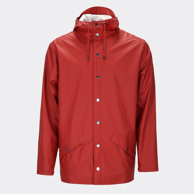 Scarlet functional and unisex rain jacket with a casual fit, featuring an adjustable hood with a practical cap function.