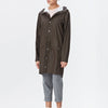 Unisex brown casual raincoat with double welded slanting pocket flaps, adjustable cuffs and a fishtail.