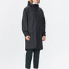 Unisex black casual raincoat with double welded slanting pocket flaps, adjustable cuffs and a fishtail.