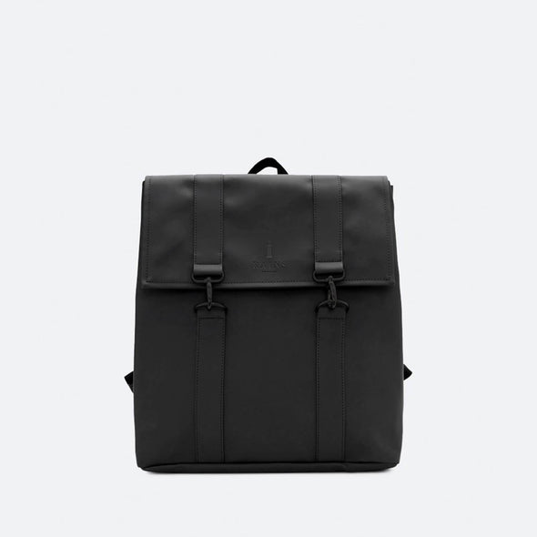 Minimalist backpack with a classic boxy style inspired design in black waterproof synthetic material.