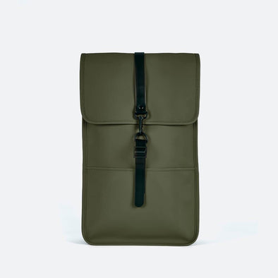 Minimalist backpack with a boxy design in green waterproof synthetic material.